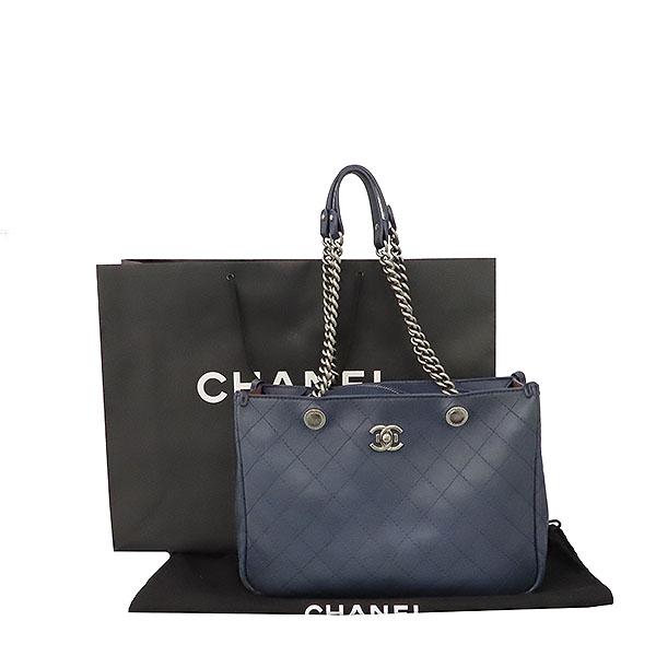 Chanel(샤넬) COCO 메탈릭 로고 네이비 컬러 체인 숄더백 [대구황금점]