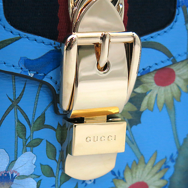 Gucci(구찌) 421882 Gucci Sylvie 시즌 컬렉션 실비 블루 플라워 프린팅 레더 리본 숄더백 + 가죽 스트랩 2WAY [부산센텀본점] 이미지7 - 고이비토 중고명품