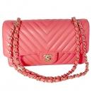 Chanel(샤넬) A01112 COCO로고 핑크 컬러 클래식 라인 쉐브론 램스킨 M사이즈 은장 체인 숄더백 [대전본점]