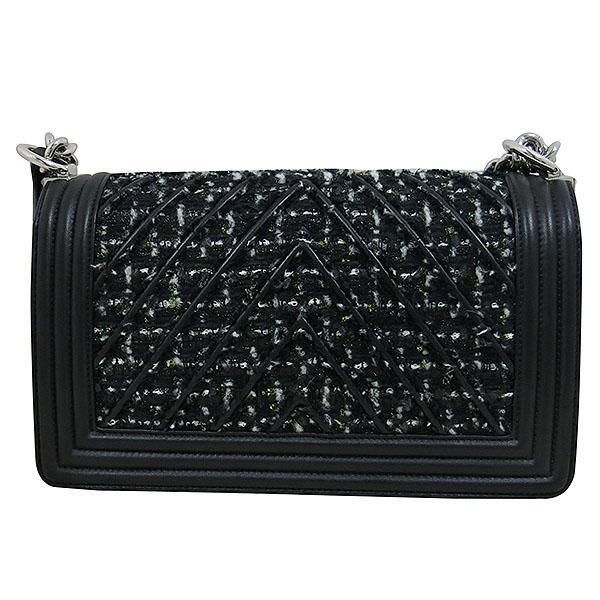 Chanel(샤넬) A67085 블랙 트위드 BOY CHANEL 보이 샤넬 쉐브론 은장 체인 플랩 숄더백 [대구동성로점] 이미지6 - 고이비토 중고명품