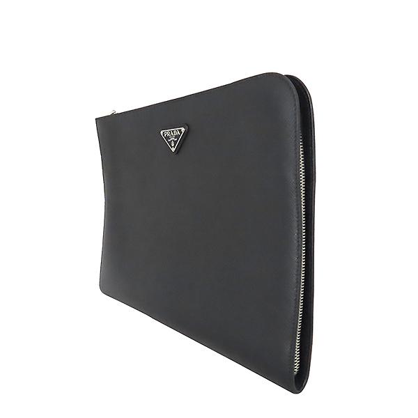 Prada(프라다) 2VN003 은장 SAFFIANO TRAVEL 사피아노 블랙 메탈 로고 집업 클러치 [대전본점] 이미지3 - 고이비토 중고명품