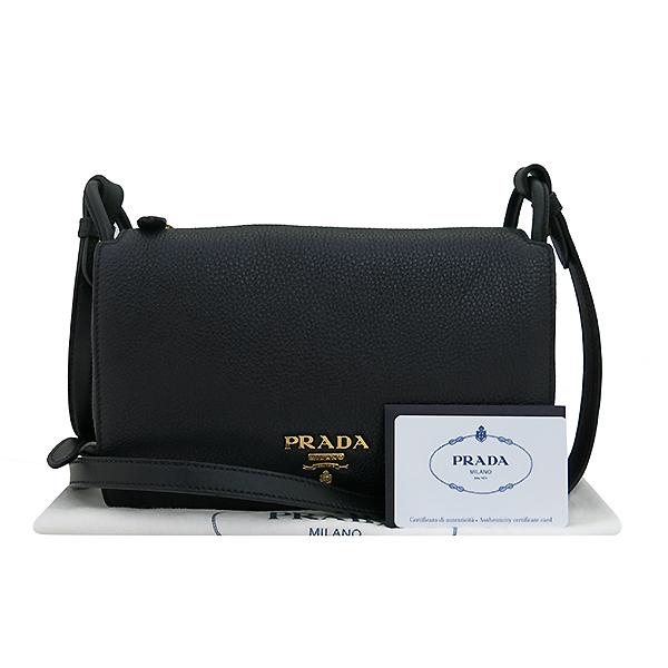 Prada(프라다) 1BH031 VIT.DAINO 비텔로다이노 블랙 레더 슈렁큰 금장 로고 플랩 미니 크로스백 [부산센텀본점]