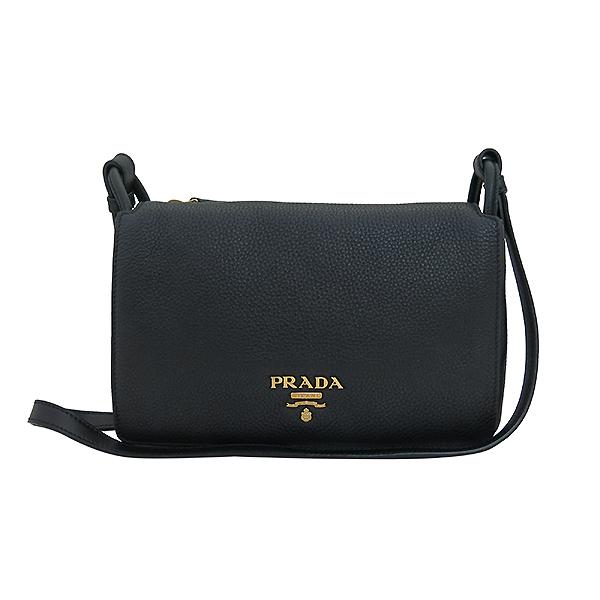 Prada(프라다) 1BH031 VIT.DAINO 비텔로다이노 블랙 레더 슈렁큰 금장 로고 플랩 미니 크로스백 [부산센텀본점] 이미지2 - 고이비토 중고명품