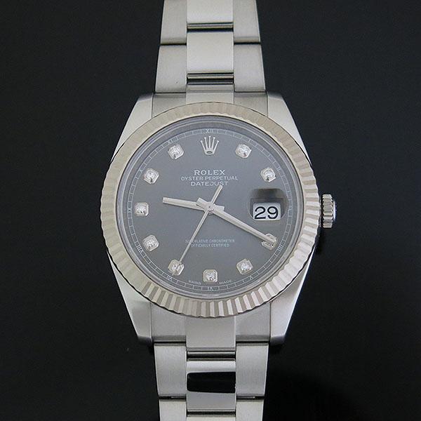 Rolex(로렉스) 126334 DATEJUST (데이저스트) 신형 41MM 화이트골드 플루티드 베젤 다크로듐 썬레이 다이얼 10포인트 다이아 셋팅 오이스터 스틸 밴드 오토매틱 남성용 시계 [대구동성로점] 이미지2 - 고이비토 중고명품