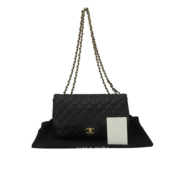 Chanel(샤넬) A28600 캐비어 스킨 블랙 클래식 점보 L사이즈 금장로고 체인 플랩 숄더백 [대구황금점]