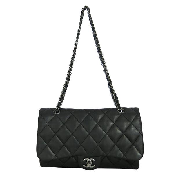 Chanel(샤넬) 블랙 램스킨 퀼팅 은장 COCO 로고 플랩 체인 숄더백 [동대문점]