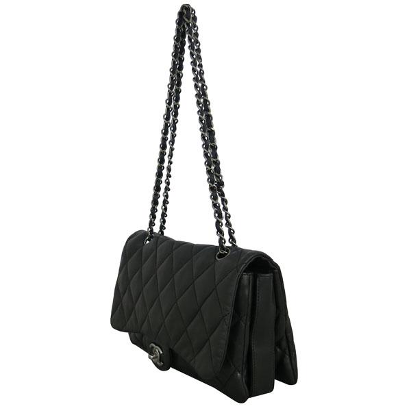 Chanel(샤넬) 블랙 램스킨 퀼팅 은장 COCO 로고 플랩 체인 숄더백 [동대문점] 이미지2 - 고이비토 중고명품