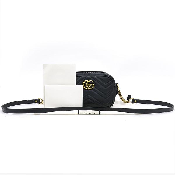 Gucci(구찌) 448065 블랙 레더 금장 GG 마몬트 마틀라쎄 미니 크로스백 [잠실점]