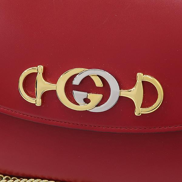 Gucci(구찌) 572375 레드컬러 레더 [구찌 주미] 골드실버 메탈 홀스빗 인터로킹 스몰 체인 숄더백 [잠실점] 이미지4 - 고이비토 중고명품