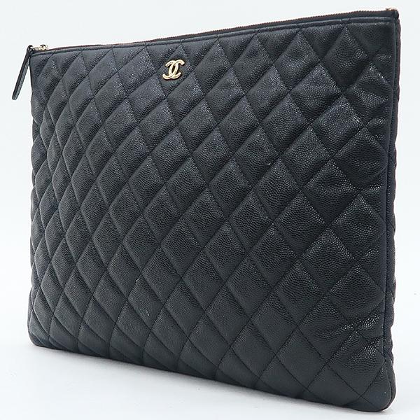 Chanel(샤넬) A69251 캐비어 블랙 금장 로고 L사이즈 클러치백 [강남본점] 이미지3 - 고이비토 중고명품