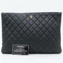 Chanel(샤넬) A69251 캐비어 블랙 금장 로고 L사이즈 클러치백 [강남본점]
