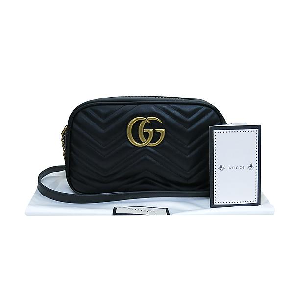 Gucci(구찌) 447632 블랙 레더 GG Marmont(마몬트) 마틀라세 금장로고 체인 크로스백 [부산센텀본점]