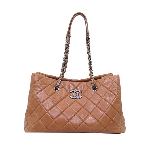 Chanel(샤넬) 빈티지 라이트 카멜브라운 퀼팅 은장로고 메탈 쇼핑 체인 숄더백 [부산센텀본점] 이미지2 - 고이비토 중고명품