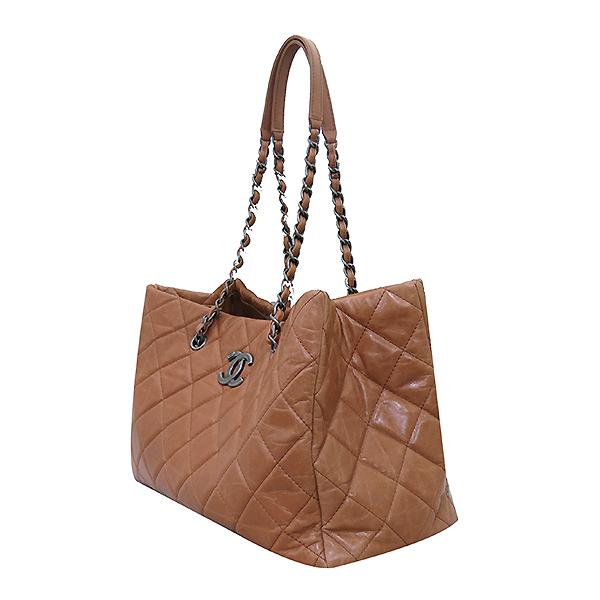 Chanel(샤넬) 빈티지 라이트 카멜브라운 퀼팅 은장로고 메탈 쇼핑 체인 숄더백 [부산센텀본점] 이미지3 - 고이비토 중고명품