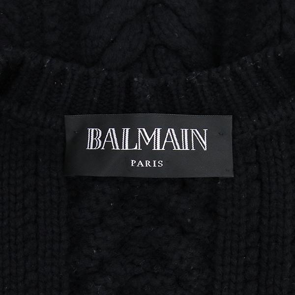Balmain(발망) 블랙컬러 모 100% 트위스트 골드메탈 버튼 디테일 로브 가디건 [강남본점] 이미지4 - 고이비토 중고명품