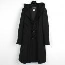 Chanel(샤넬) P29341 블랙컬러 모 100% 토글 버튼 디테일 후드 더플 여성용코트 [강남본점]