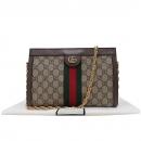 Gucci(구찌) 503877 GG 슈프림 캔버스 Web 스트라이프 더블 G 메탈 장식 금장 체인 숄더백 [인천점]