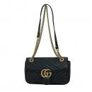 Gucci(구찌) 443497 블랙 레더 GG마몬트 스몰 마틀라쎄 퀼팅 금장 체인 숄더백 [부산센텀본점]