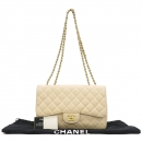 Chanel(샤넬) A28600 캐비어스킨 베이지컬러 클래식 점보 L사이즈 금장로고 체인 플랩 숄더백 [강남본점]
