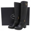 Prada(프라다) 비텔로 블랙 레더 버클 장식 여성용 부츠 - 36 사이즈 [인천점]