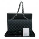 Chanel(샤넬) A47600Y01588 블랙 캐비어스킨 클래식 맥시 사이즈 은장 체인 숄더백 [부산센텀본점]