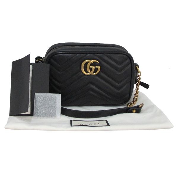 Gucci(구찌) 448065 블랙 레더 금장 GG 마몬트 마틀라쎄 미니 크로스백 [대구반월당본점]