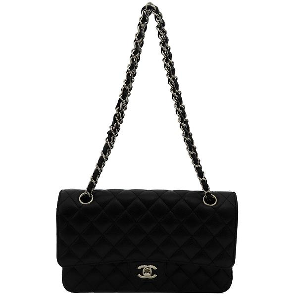 Chanel(샤넬) A0112Y01588 캐비어스킨 블랙 클래식 M사이즈 은장로고 체인 숄더백 [잠실점]