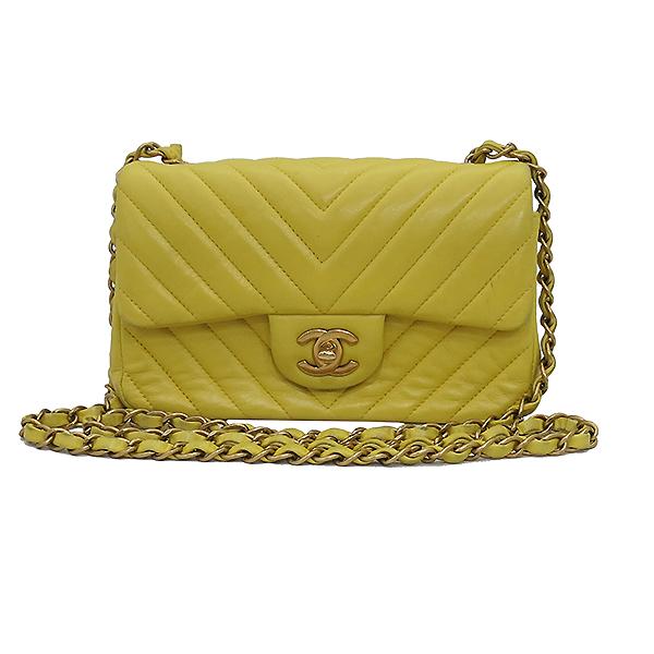 Chanel(샤넬) 옐로우 컬러 쉐브론 금장 장식 미니 크로스백 [부산센텀본점] 이미지2 - 고이비토 중고명품