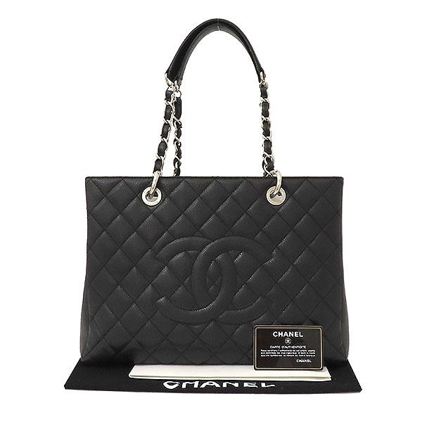 Chanel(샤넬) A50995Y01588 캐비어스킨 블랙 그랜드샤핑 은장로고 체인 숄더백 [부산서면롯데점]