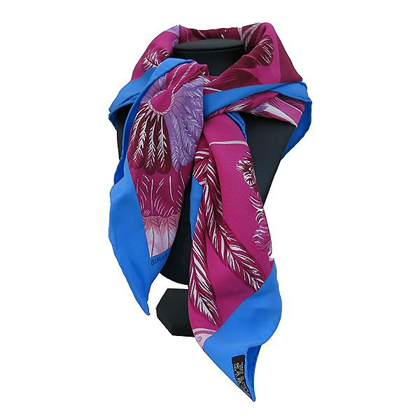 Hermes(에르메스) 100% 실크 핑크 & 블루 깃털 패턴 스카프 [부산센텀본점]