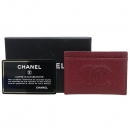 Chanel(샤넬) COCO로고 버건디 컬러 캐비어 스킨 카드 지갑 [강남본점]