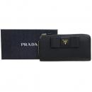 Prada(프라다) 1ML506 블랙 사피아노 금장 리본장식 짚업 장지갑 [강남본점]