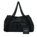 Chanel(샤넬) 럭셔리바이 블랙 레더 애나멜 로고스티치 플라스틱 체인 숄더백 [부산센텀본점]