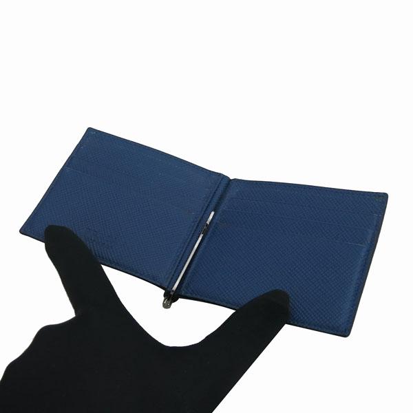 Prada(프라다) 2MN077 은장 로고 장식 네이비 사피아노 6크레딧 머니클립 반지갑 [동대문점] 이미지3 - 고이비토 중고명품