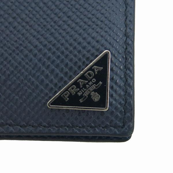 Prada(프라다) 2MN077 은장 로고 장식 네이비 사피아노 6크레딧 머니클립 반지갑 [동대문점] 이미지4 - 고이비토 중고명품