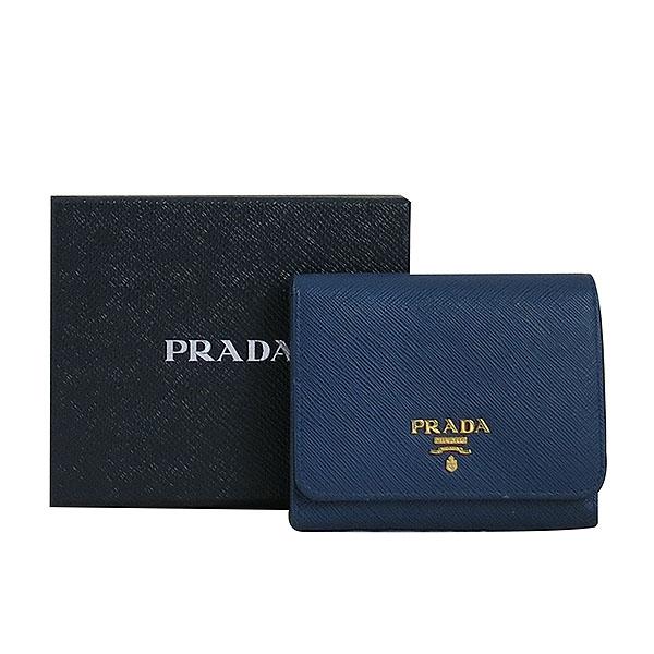 Prada(프라다) 1MH176 금장 로고 네이비 컬러 사피아노 중지갑 [대구동성로점]