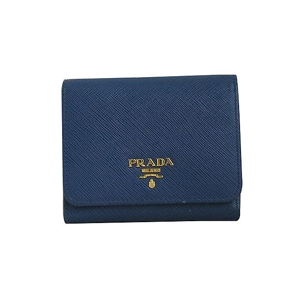 Prada(프라다) 1MH176 금장 로고 네이비 컬러 사피아노 중지갑 [대구동성로점] 이미지2 - 고이비토 중고명품