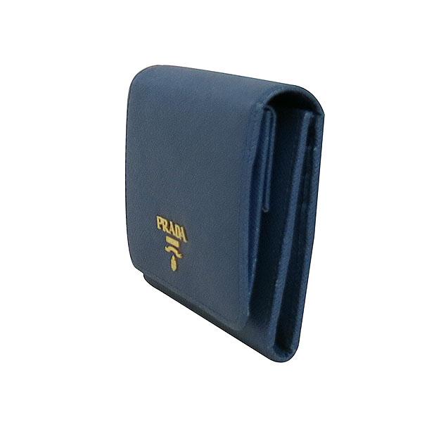 Prada(프라다) 1MH176 금장 로고 네이비 컬러 사피아노 중지갑 [대구동성로점] 이미지3 - 고이비토 중고명품