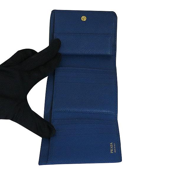 Prada(프라다) 1MH176 금장 로고 네이비 컬러 사피아노 중지갑 [대구동성로점] 이미지4 - 고이비토 중고명품