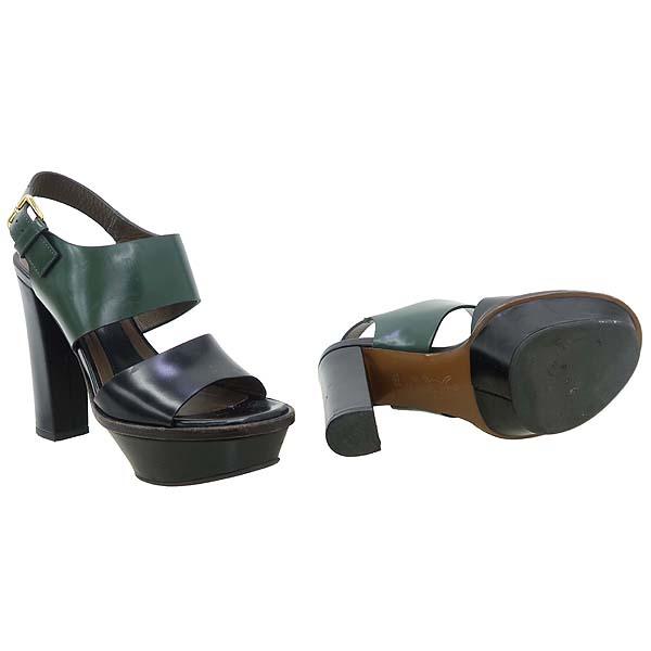 MARNI(마르니) 블랙 + 그린 레더 하이힐 여성용 샌들 [강남본점] 이미지2 - 고이비토 중고명품