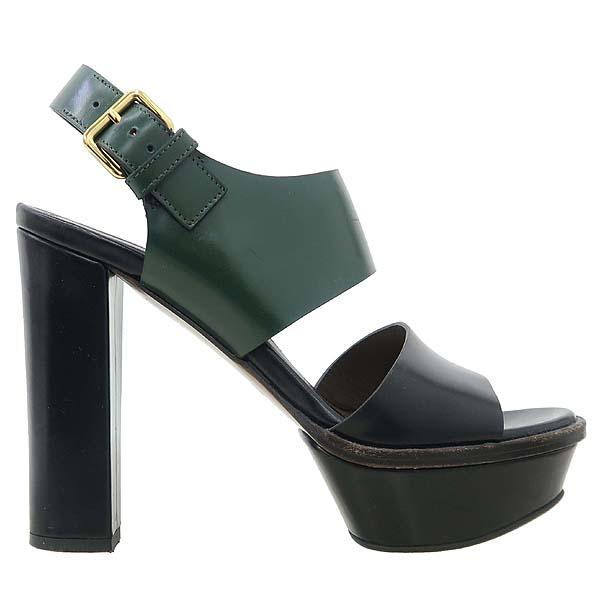 MARNI(마르니) 블랙 + 그린 레더 하이힐 여성용 샌들 [강남본점] 이미지3 - 고이비토 중고명품
