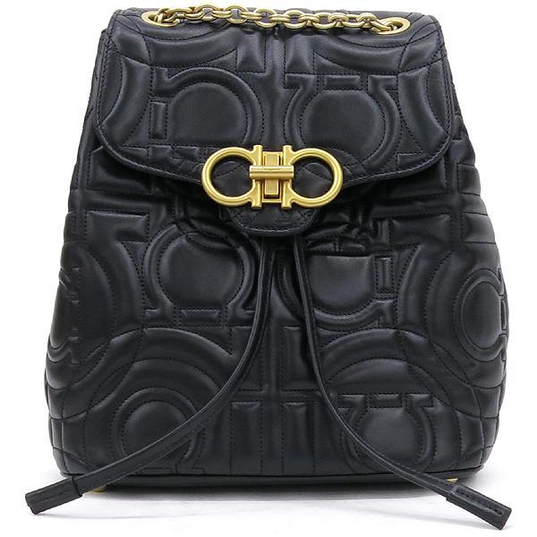 Ferragamo(페라가모) 21 H158 블랙 램스킨 금장 간치니 금장 로고 체인 백팩 [강남본점] 이미지2 - 고이비토 중고명품