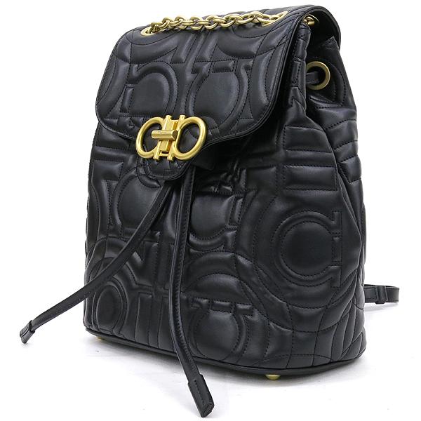 Ferragamo(페라가모) 21 H158 블랙 램스킨 금장 간치니 금장 로고 체인 백팩 [강남본점] 이미지3 - 고이비토 중고명품