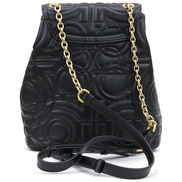 Ferragamo(페라가모) 21 H158 블랙 램스킨 금장 간치니 금장 로고 체인 백팩 [강남본점] 이미지4 - 고이비토 중고명품