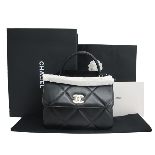 Chanel(샤넬) A92236 램스킨 블랙 컬러 퀼팅 TRENDY CC 트렌디 CC 핸들 골드메탈 금장로고 플랩 토트백 + 체인스트랩 2WAY [동대문점]