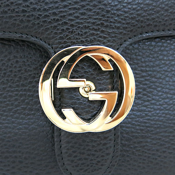 Gucci(구찌) 510303 블랙 레더 인터로킹 금장 체인 미디움 숄더백 [부산센텀본점] 이미지4 - 고이비토 중고명품