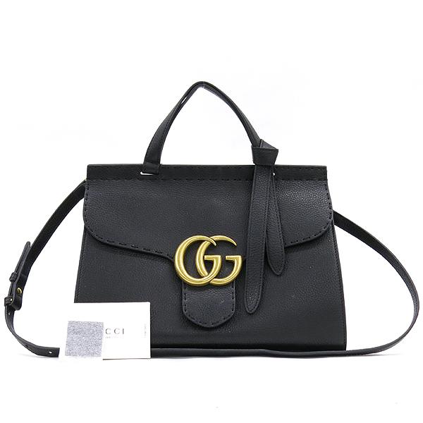 Gucci(구찌) 421890 블랙 레더 GG Marmont(마몬트) 금장 로고 토트백 + 숄더스트랩 2WAY [강남본점]