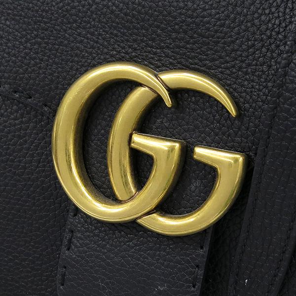 Gucci(구찌) 421890 블랙 레더 GG Marmont(마몬트) 금장 로고 토트백 + 숄더스트랩 2WAY [강남본점] 이미지4 - 고이비토 중고명품