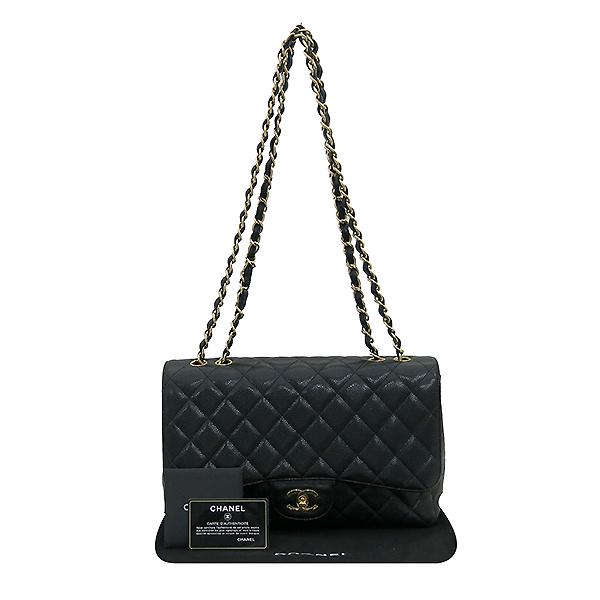 Chanel(샤넬) A28600 캐비어 스킨 블랙컬러 클래식 점보 L사이즈 금장로고 체인 원 플랩 숄더백 [부산센텀본점]