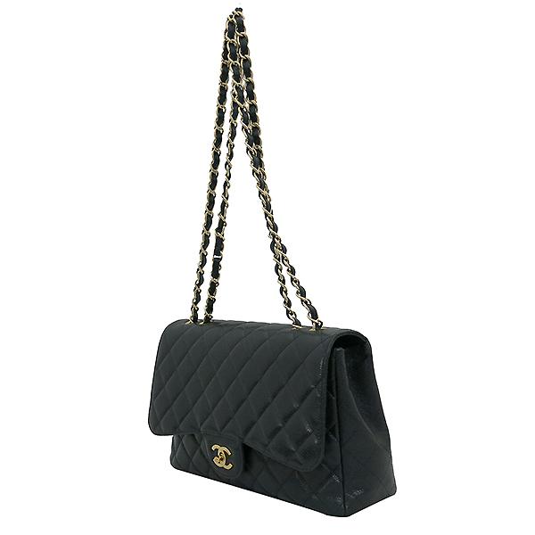 Chanel(샤넬) A28600 캐비어 스킨 블랙컬러 클래식 점보 L사이즈 금장로고 체인 원 플랩 숄더백 [부산센텀본점] 이미지3 - 고이비토 중고명품